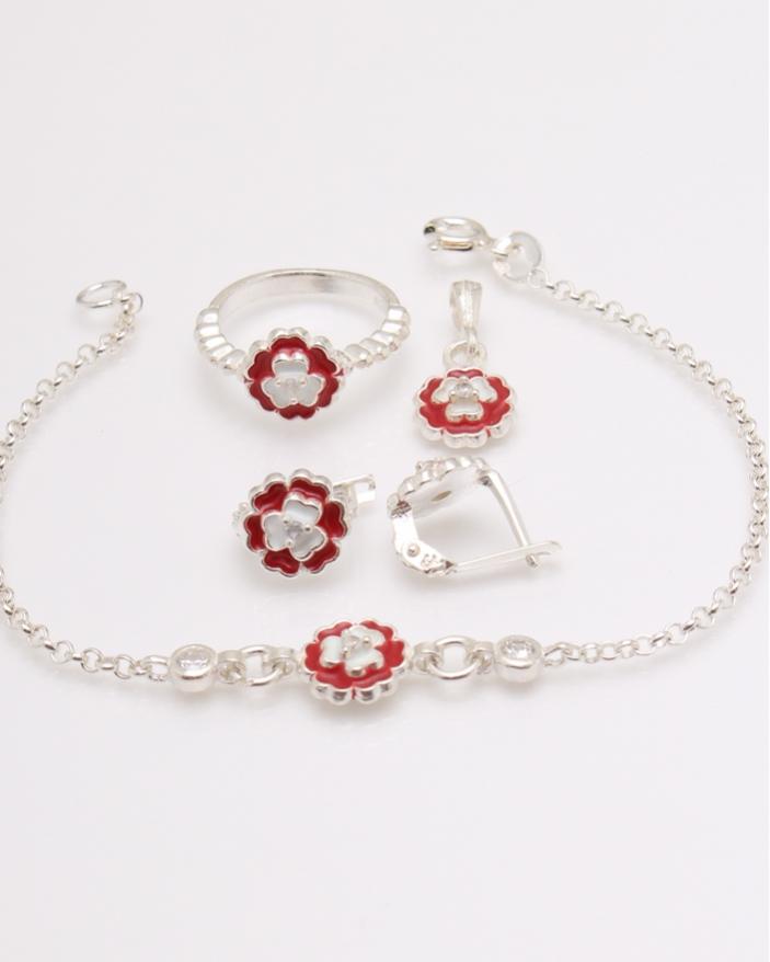 Set argint floare rosie cod 3-23823, gr5.4