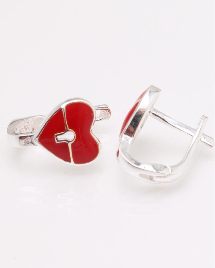 Cercei argint inima rosie cod 2-24600, gr1.8