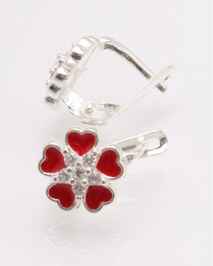 Cercei argint floare rosie cod 2-27974, gr1.4