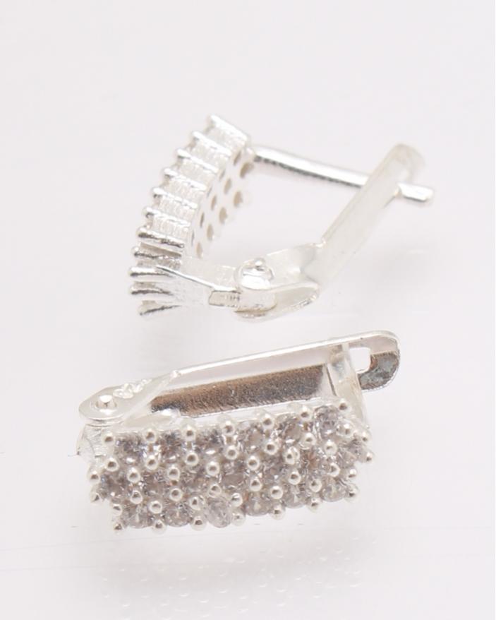 Cercei argint trei randuri de pietre albe cod 2-27977, gr1.7