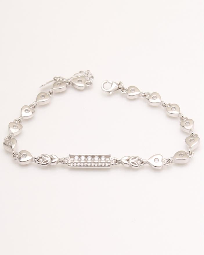 Bratara argint tablita si inimioare cod 5-23885, gr7.5
