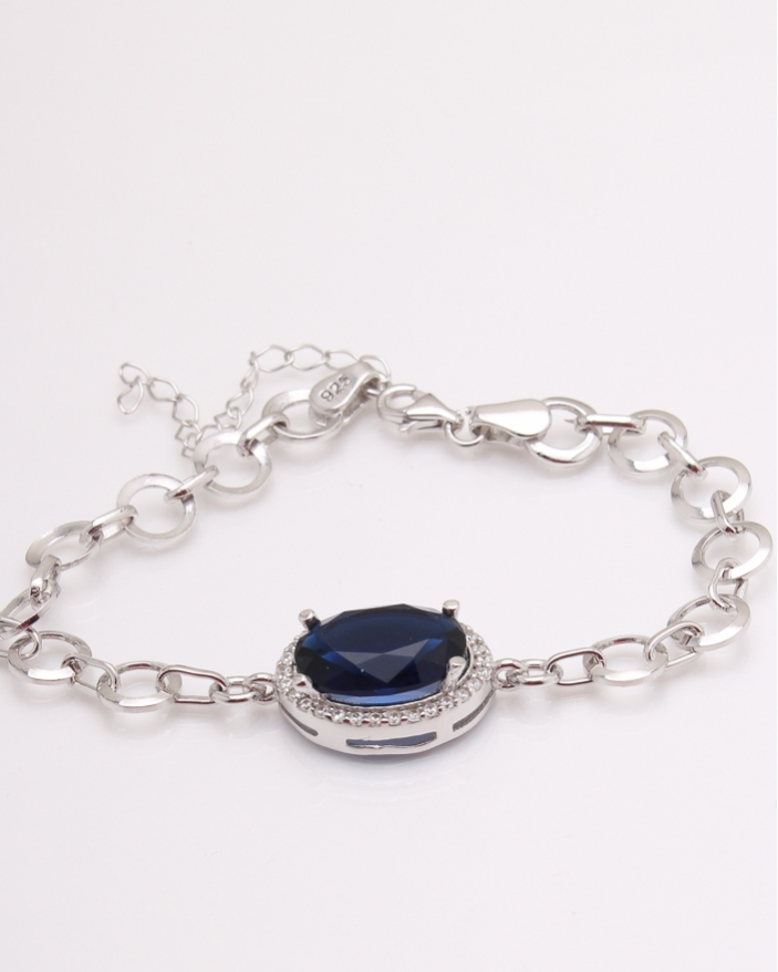 Bratara argint rodiata cu piatra albastra cod 5-24569, gr7.3