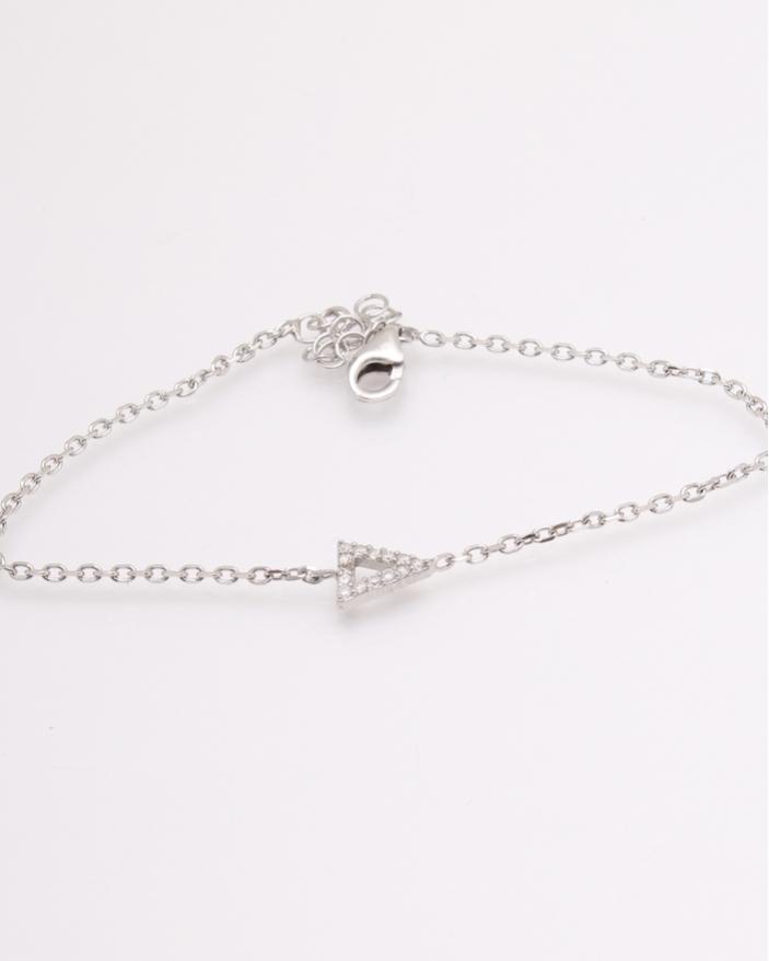 Bratara argint triunghi cu pietre albe cod 5-27299, gr1.2