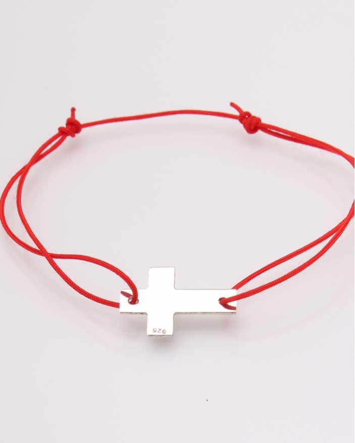 Bratara argint cruce si ata rosie cod 5-31586, gr1