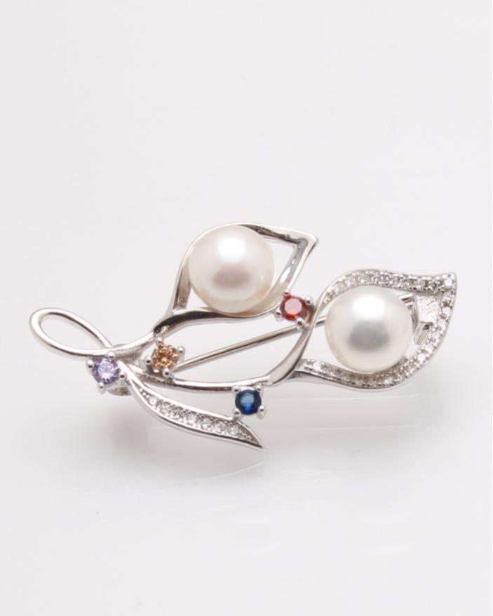 Brosa argint cu perle cod 8-28949, gr4.5