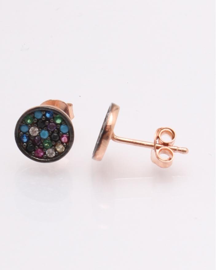 Cercei argint roz pietre colorate cod 2-18309, gr0.9