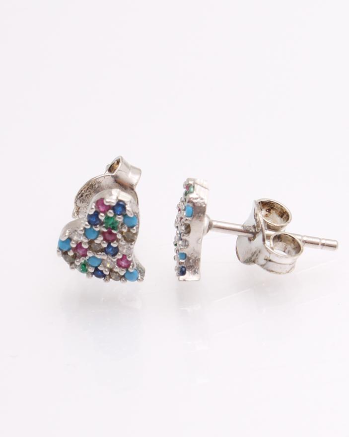 top fashion cele mai bune oferte cea mai mare reducere Cercei argint, inima cu pietre multicolore cod 2-21680, gr1.3