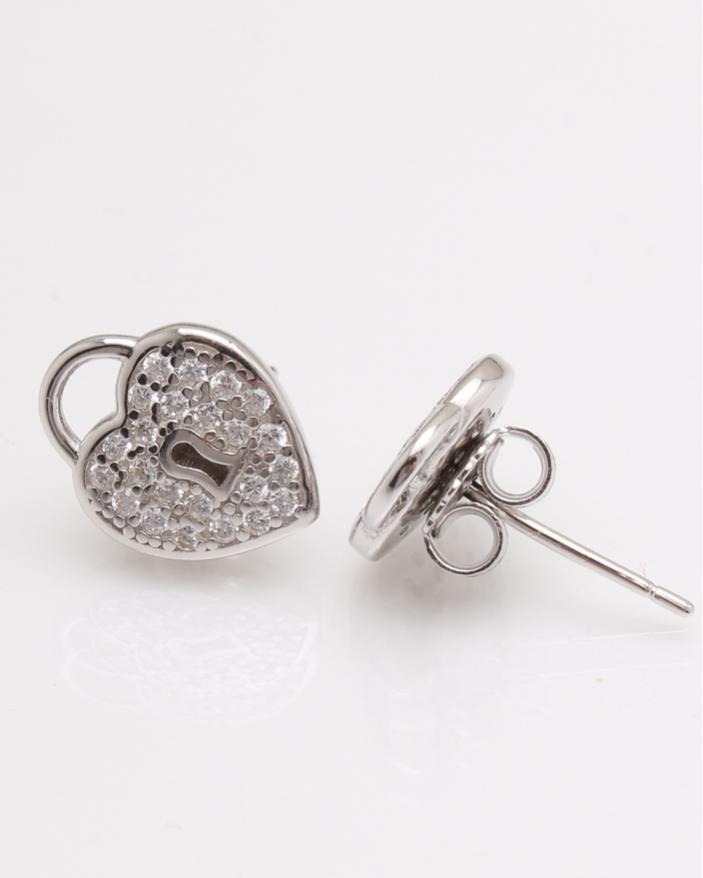 Cercei argint inima si cubic zirconia cod 2-24039, gr2.8