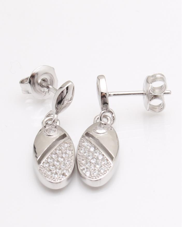 Cercei argint lungi cu pietricele albe cod 2-24041, gr3.1