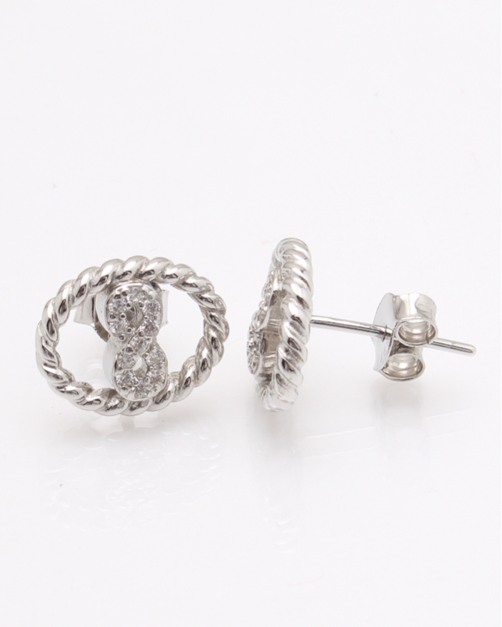 Cercei argint ovali cu pietre albe cod 2-24050, gr2.4