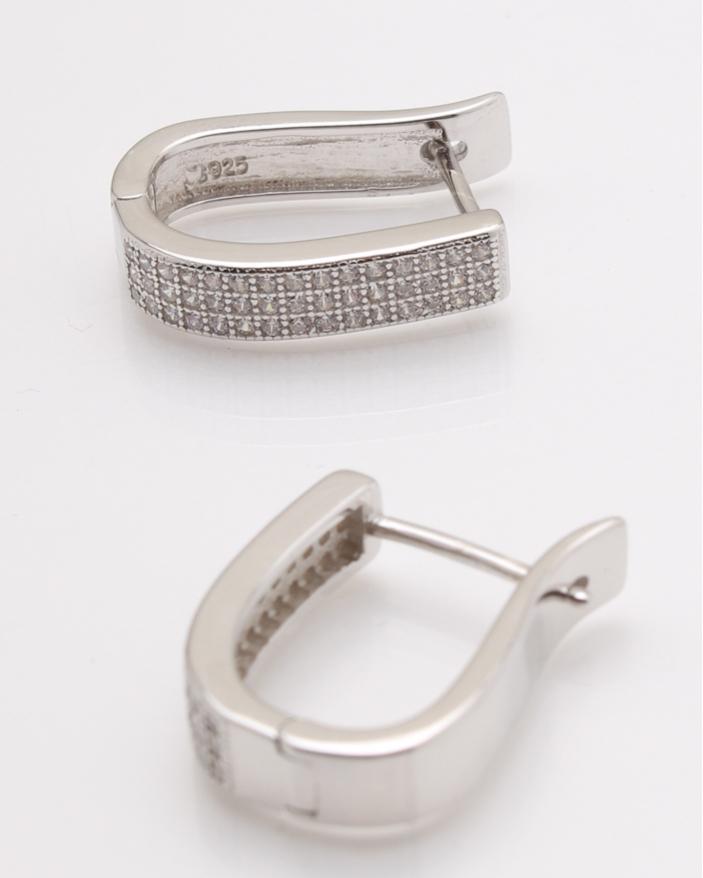 Cercei argint rodiati pietre albe cod 2-25346, gr4.3