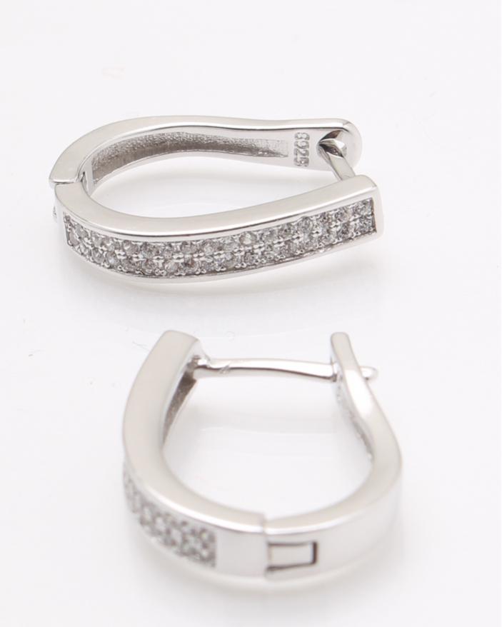 Cercei argint rodiati pietre albe cod 2-25347, gr3.5