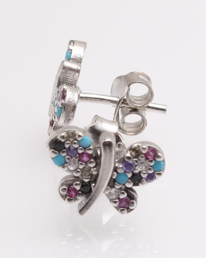 Cercei argint fluture pietre colorate cod 2-25377, gr1.5