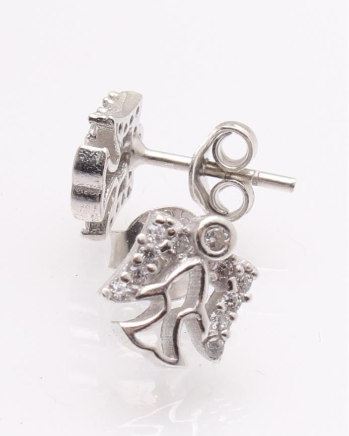 Cercei argint ingeras cu pietre albe cod 2-25410, gr1.4