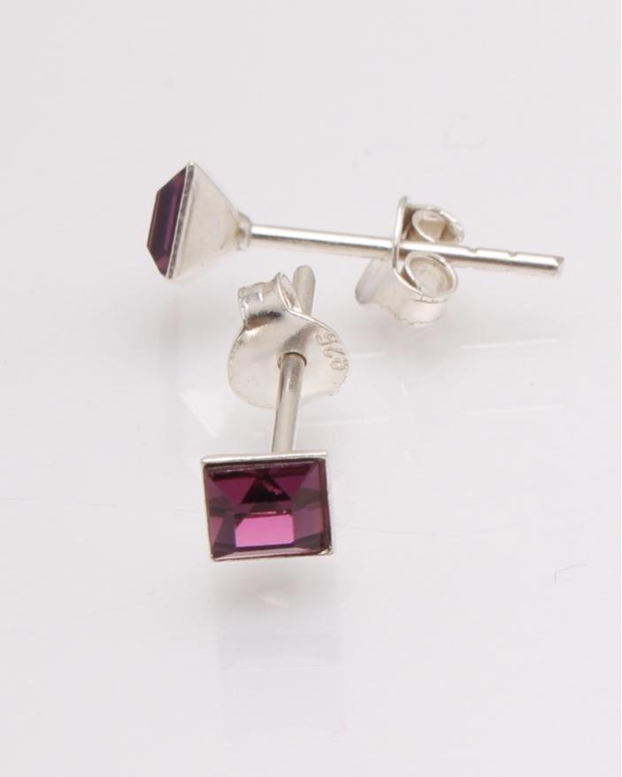 Cercei argint cu cristale patrate cod 2-27112, gr0.6