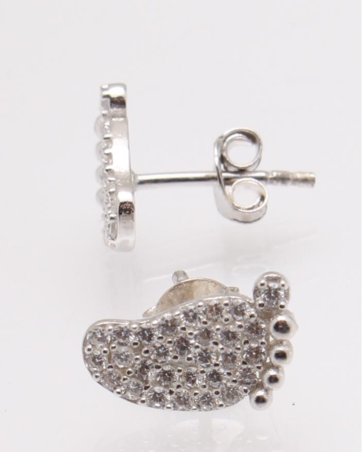 Cercei argint talpa cu pietre albe cod 2-27719, gr1.3