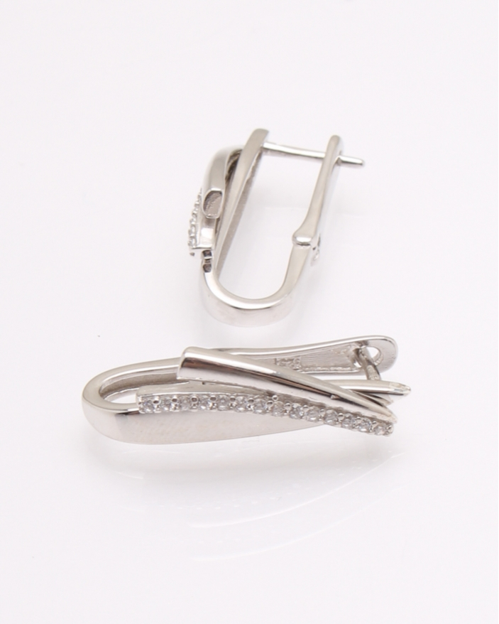 Cercei argint rodiat si cubic zirconia cod 2-31512, gr4.2