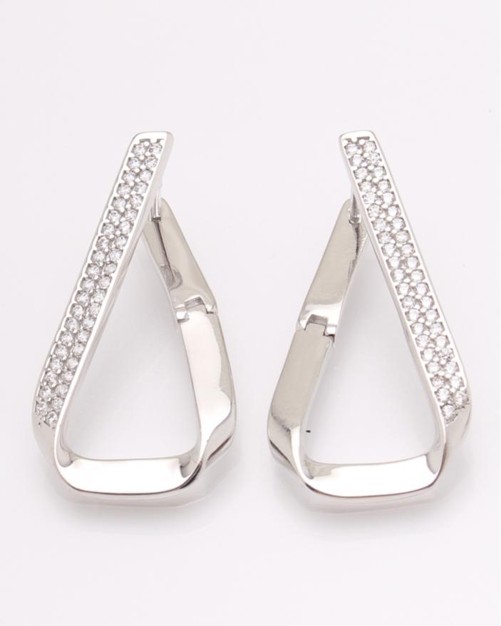 Cercei argint rodiat si cubic zirconia cod 2-31514, gr5.9