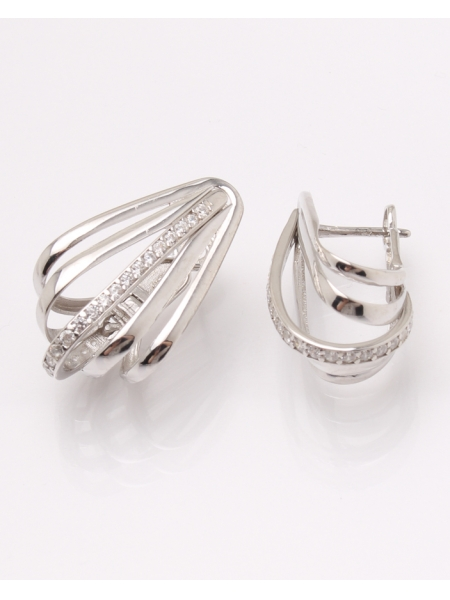 Cercei argint rodiat si cubic zirconia cod 2-31515, gr5.6