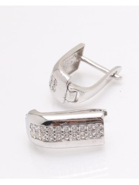 Cercei argint rodiat si cubic zirconia cod 2-33857, gr3.5