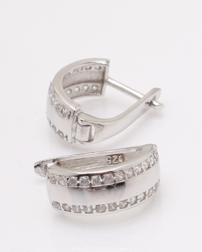Cercei argint rodiat si cubic zirconia cod 2-33858, gr3.7