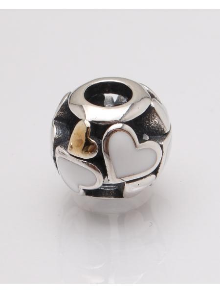Pandantiv argint cu inimioare albe cod 6-27490. gr3.1