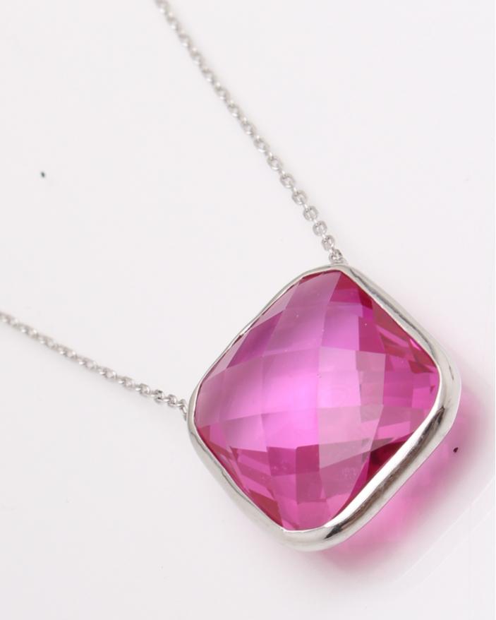 Colier argint piatra patrata roz cod 4-22941, gr6.7