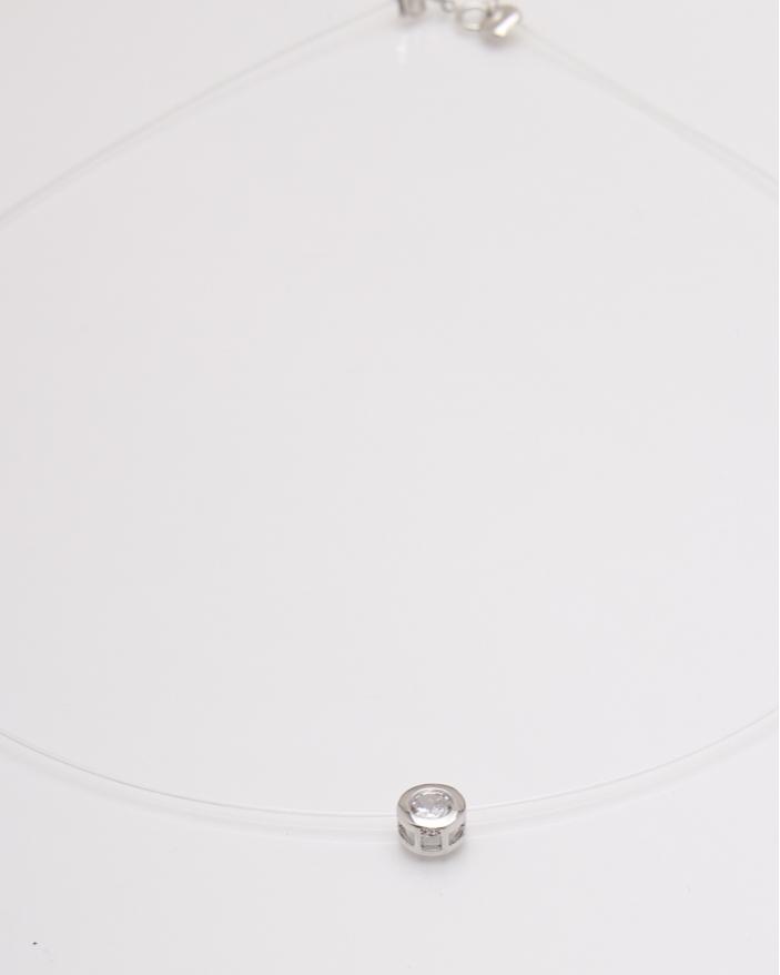 Colier argint silicon si piatra alba cod 4-23615, gr1.5