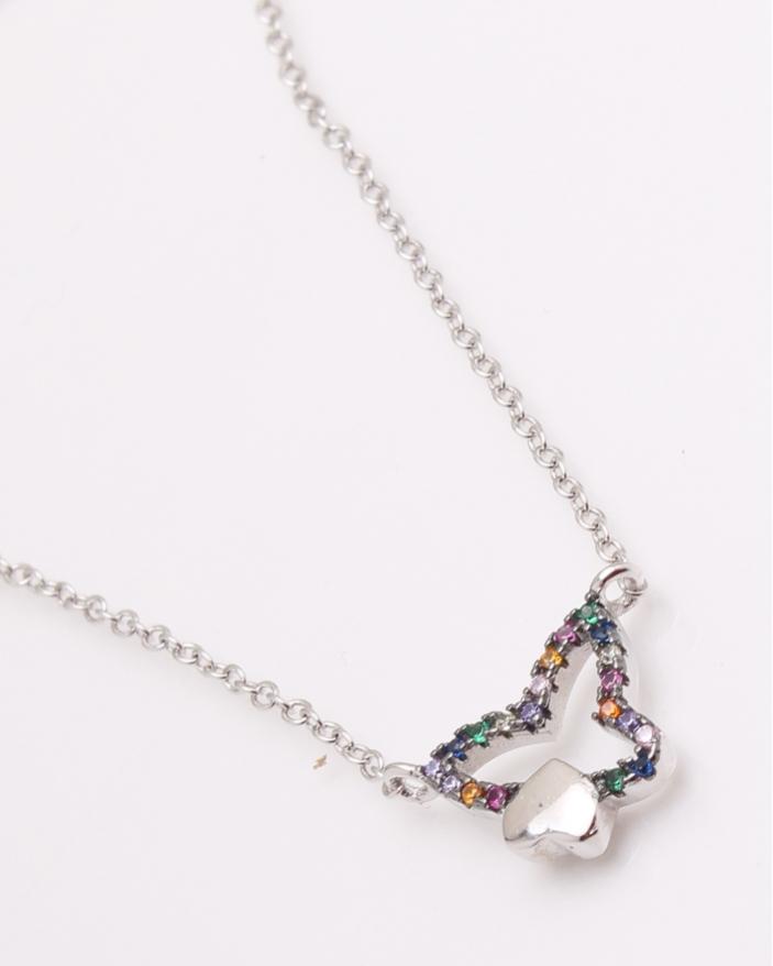 Colier argint fluture cu pietre colorate cod 4-24584, gr2.2