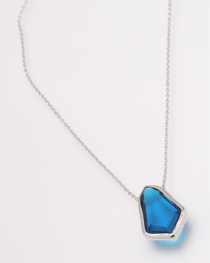 Colier argint cubic zirconia albastru cod 4-28560, gr3