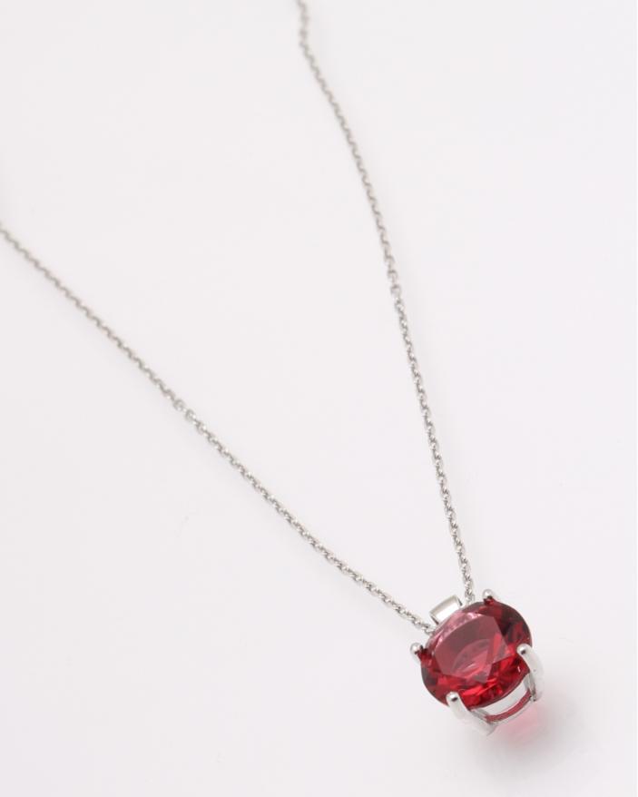 Colier argint cu o pietricica rosie cod 4-28840, gr2.5
