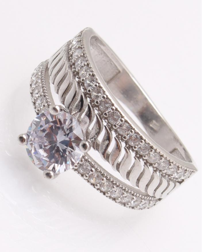 Inel argint, cu 2 randuri de pietre cod 1-22261, gr4.5