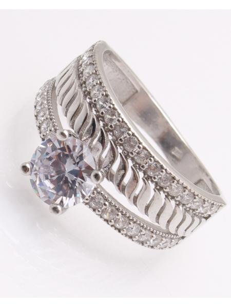 Inel argint, cu 2 randuri de pietre cod 1-22263, gr4.3