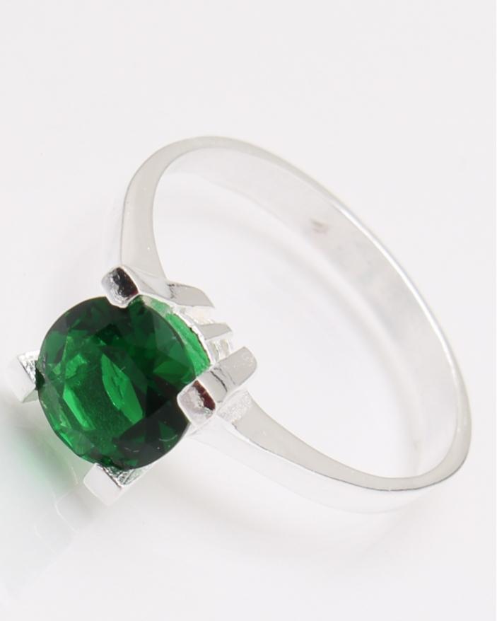 Inel argint piatra rotunda verde cod 1-24458, gr2.9