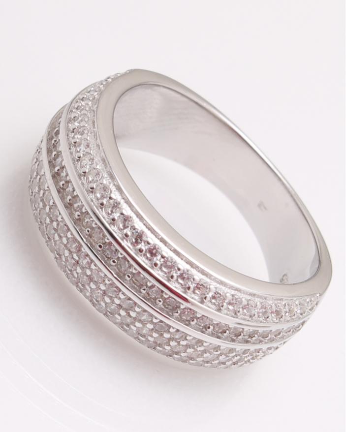 Inel argint rodiat cu pietricele albe cod 1-24509, gr5.6