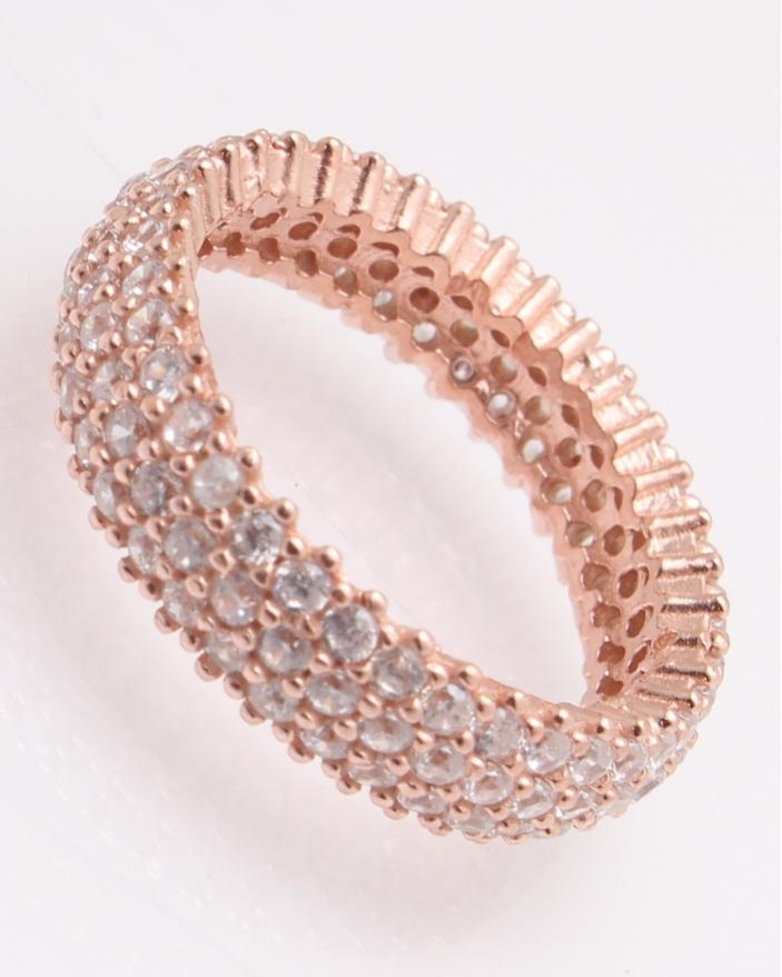 Inel argint roze cu pietricele cubic zirconia cod 1-25804, gr3.8