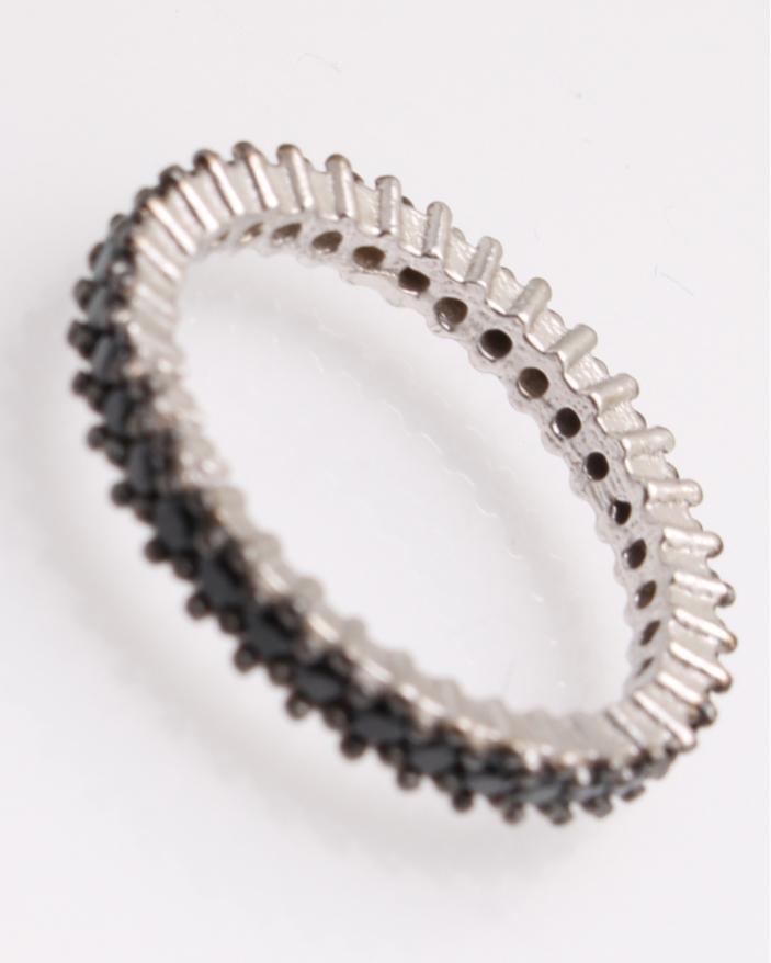 Inel argint cu pietricele negre cubic zirconia  cod 1-25824, gr1.7