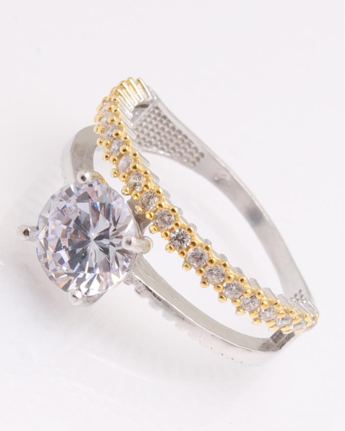 Inel argint de logodna auriu cod 1-25961, gr3.7