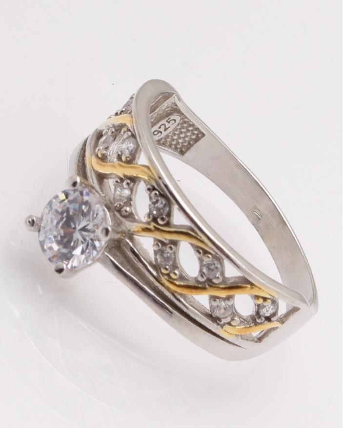 Inel argint de logodna auriu cod 1-25976, gr4.1