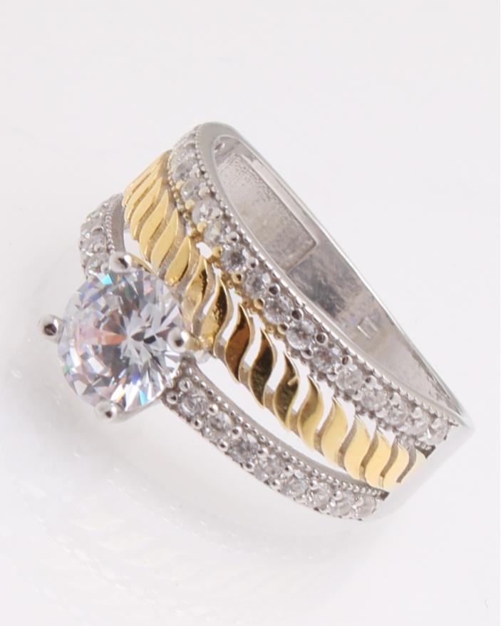 Inel argint de logodna auriu cod 1-25980, gr3.7