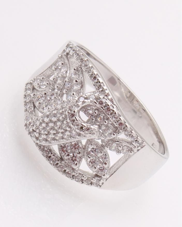 Inel argint rodiat si cubic zirconia cod 1-26386, gr6