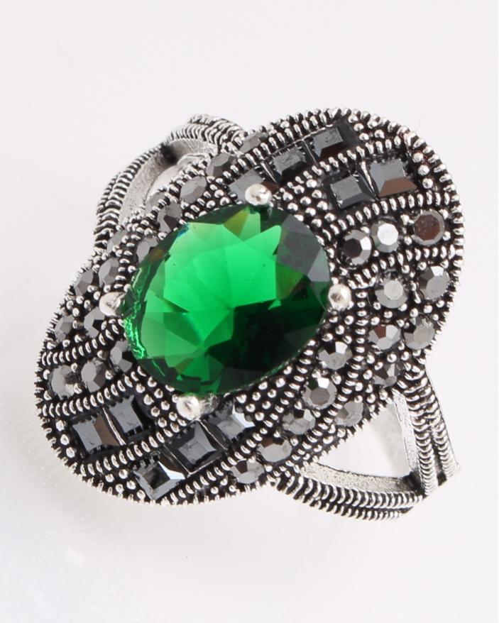 Inel argint cu marcasite si piatra verde cod 1-26852, gr5.4
