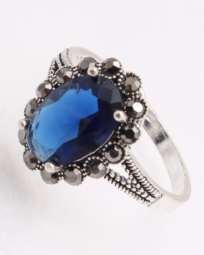 Inel argint cu marcasite si piatra albastra cod 1-26864, gr3.4