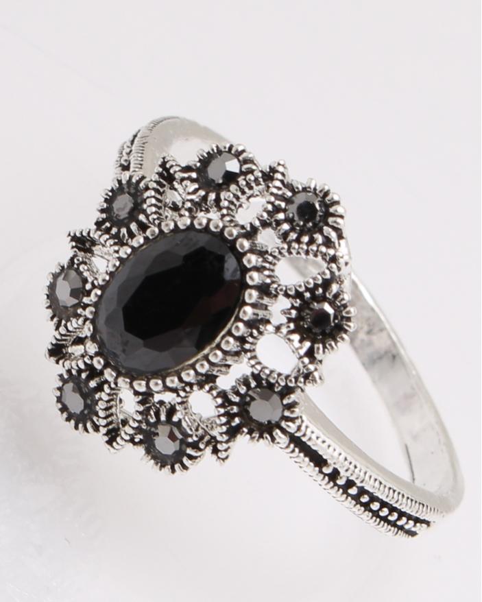 Inel argint cu piatra neagra si marcasite cod 1-26891, gr3.6