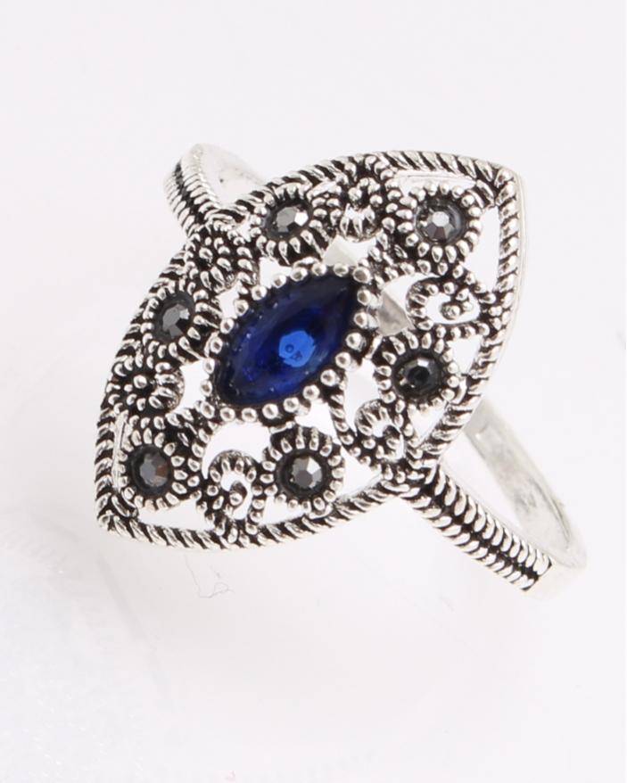 Inel argint cu marcasite si piatra albastra cod 1-26973, gr3.1