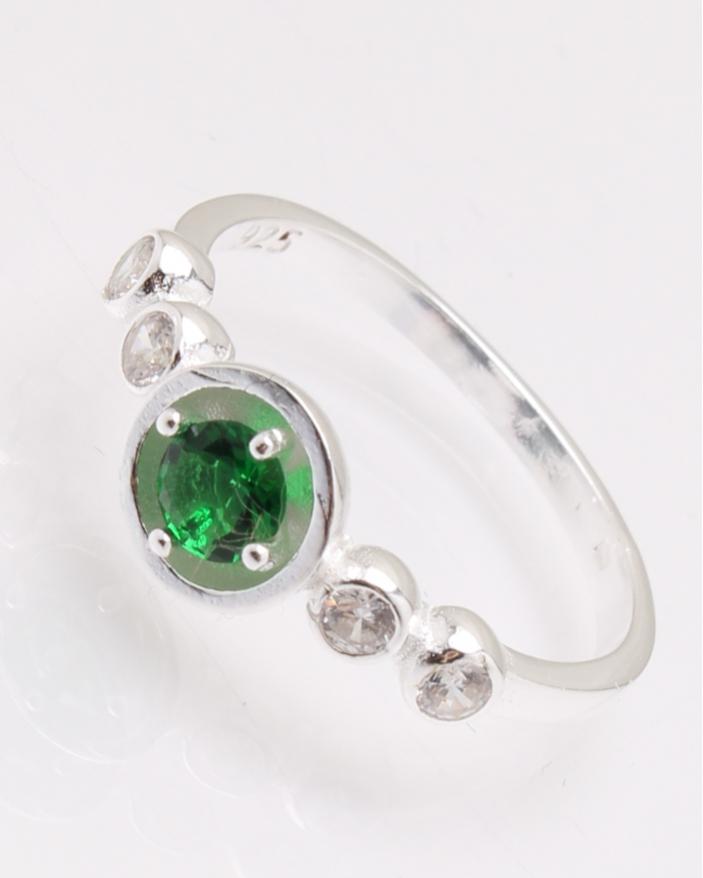 Inel argint cu piatra rotunda verde cod 1-28645, gr2.5