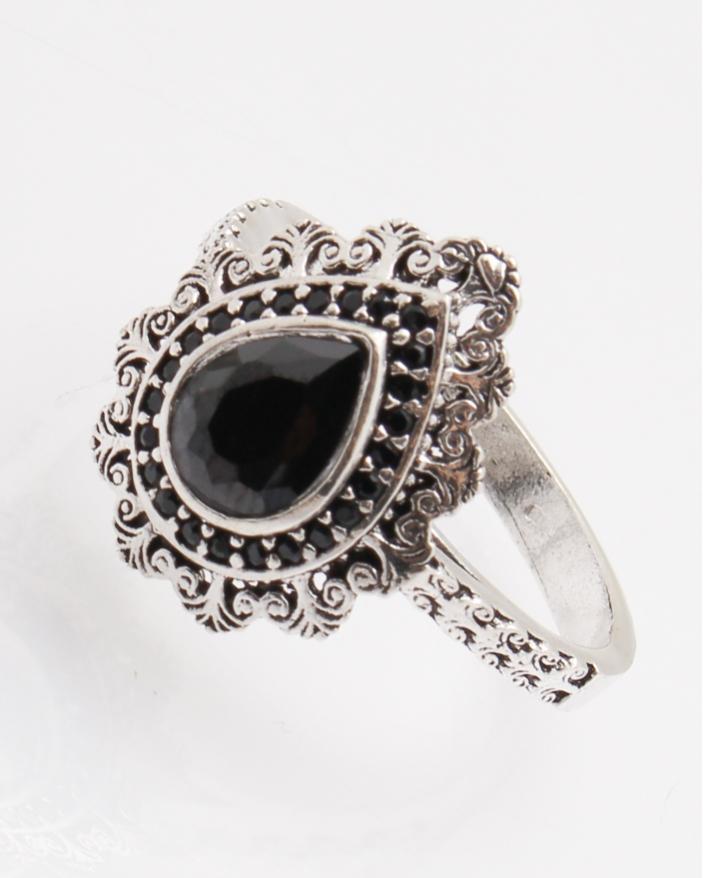 Inel argint cu piatra lacrima neagra cod 1-28883, gr4.3