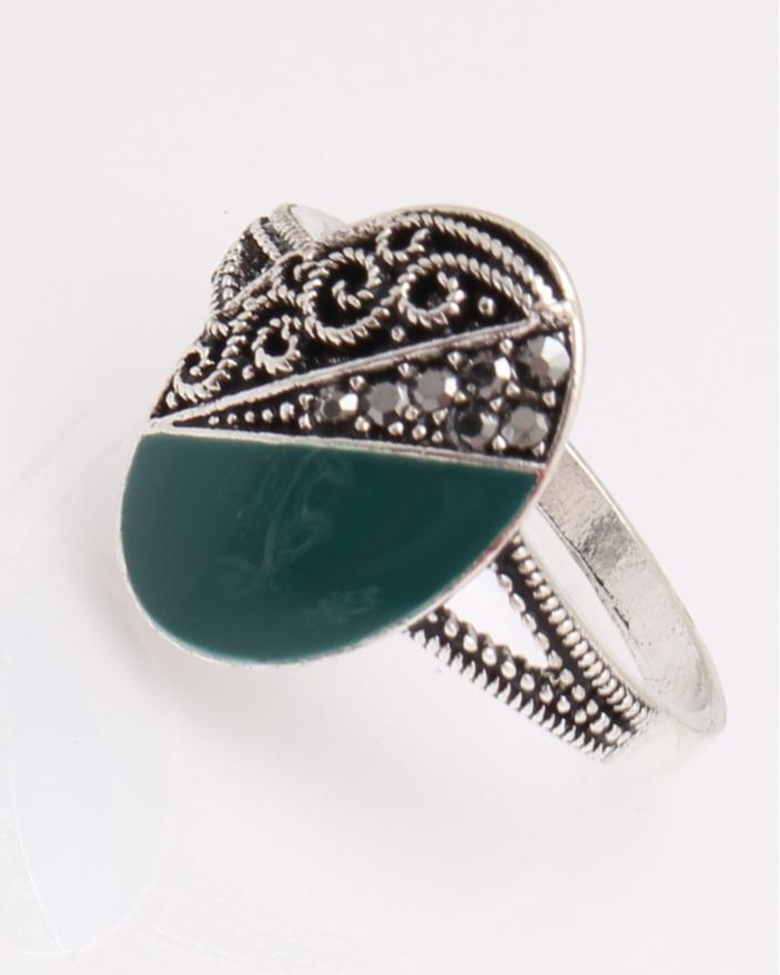 Inel argint oval verde cod 1-29007, gr3.4