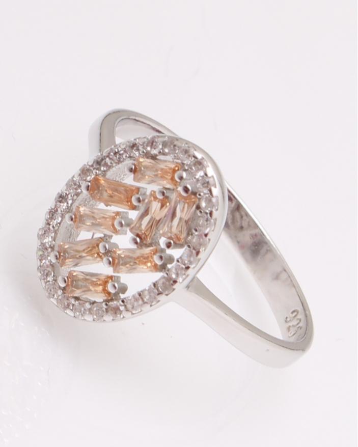Inel argint oval cu pietre portocalii cod 1-29253, gr2.2