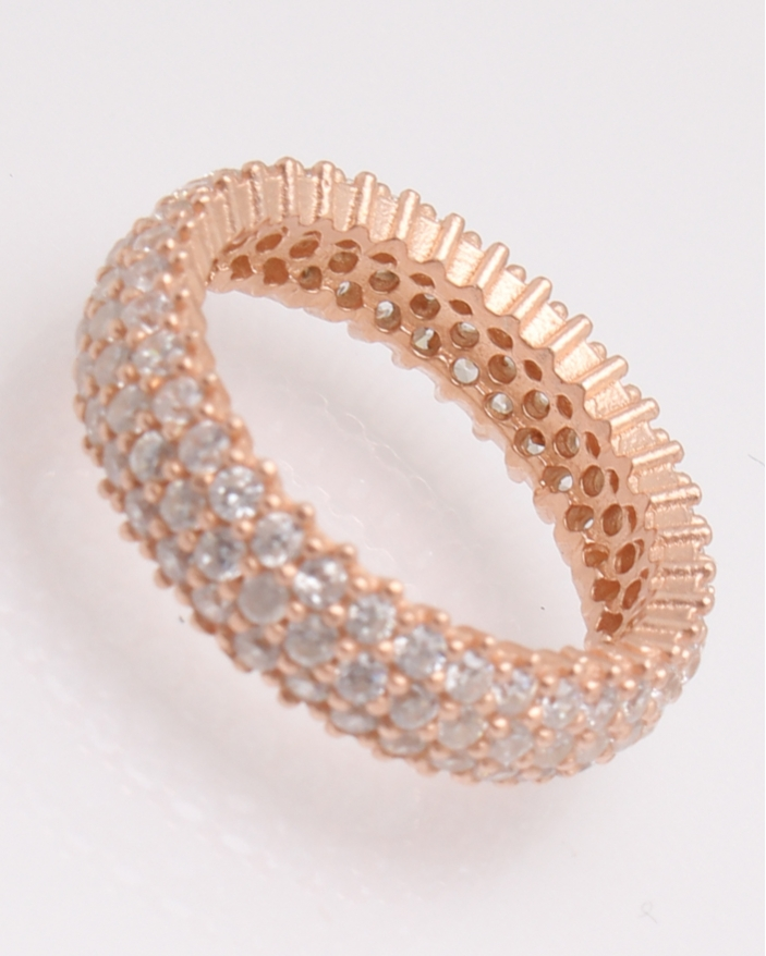 Inel argint tennis roz cu trei randuri de pietre cod 1-30433, gr3.9
